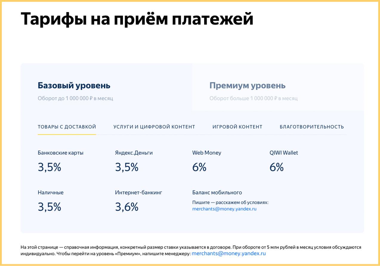 Тарифы Яндекс.Касса в марте 2018