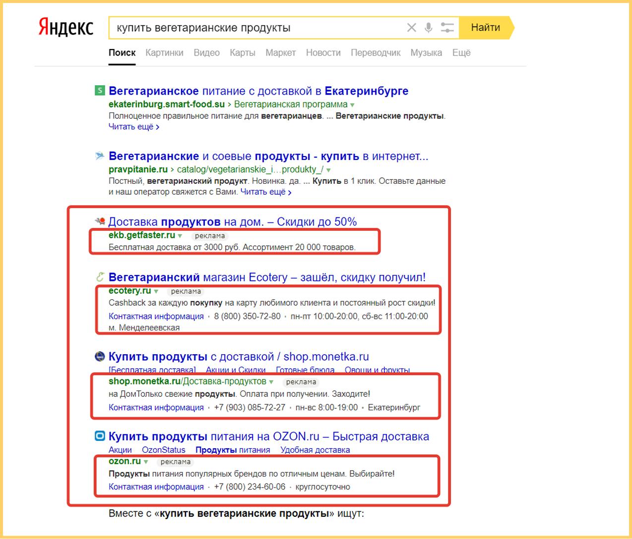 Блок гарантированные показы в Яндекс Директ