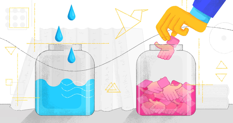 В этой книге одинаковое количество воды и пользы. Иллюстрация Callibri