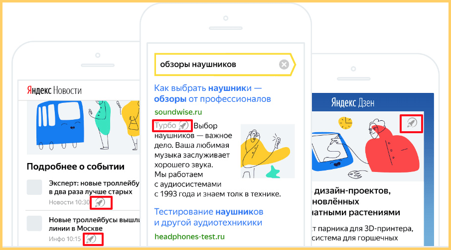 Турбо страницы Яндекс в поиске отмечены ракетой