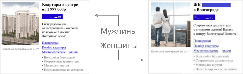 Сегментация целевой аудитории - пример объявлений