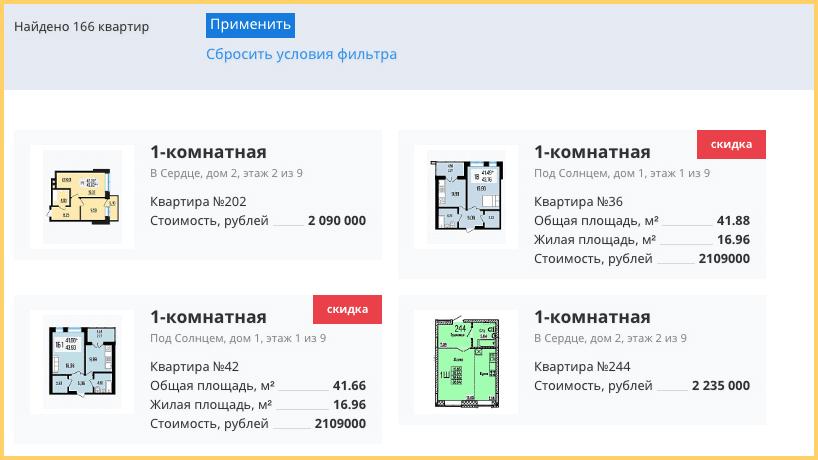 Как выглядел старый каталог недвижимости на сайте
