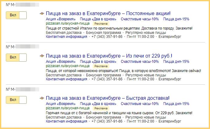 Реклама доставки пиццы в Яндекс.Директ