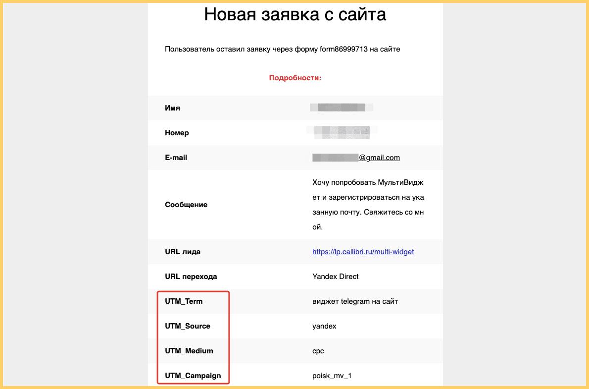 В заявке клиента вы увидите, с какой рекламы он пришел на сайт