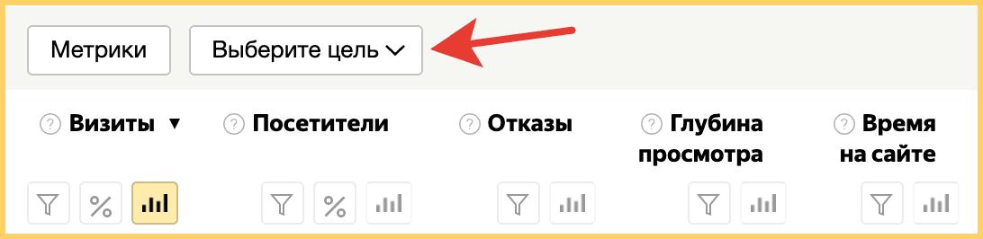 Чтобы построить отчет по целям в Яндекс Метрике, выберите нужные фильтры над колонкой с данными