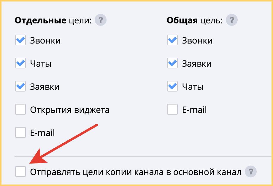Можно передавать в Яндекс.Метрику и Google Analytics общую цель по звонкам с двух каналов