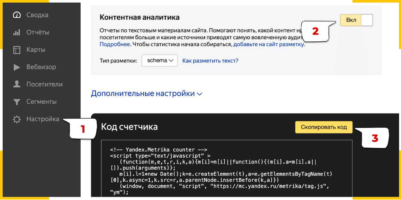 Как включить отчеты по контенту в Яндекс.Метрике