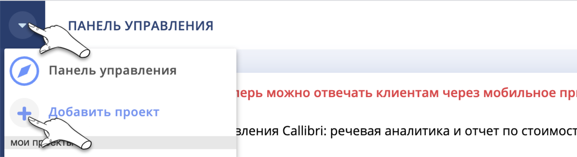 Добавить новый проект в Callibri
