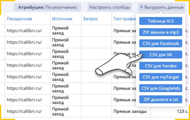 Выгрузить файл для ретаргетинга в вк из CRM