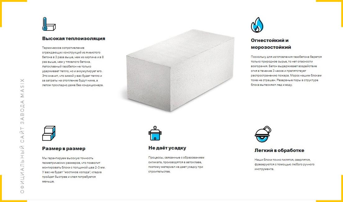 На странице с информацией о продукте рассказали о преимуществах газобетонных блоков