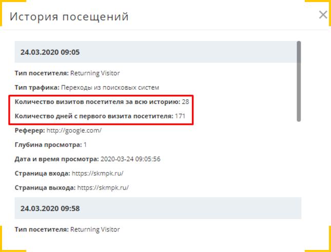 Сколько визитов пользователь совершил на сайт и время с первого визита