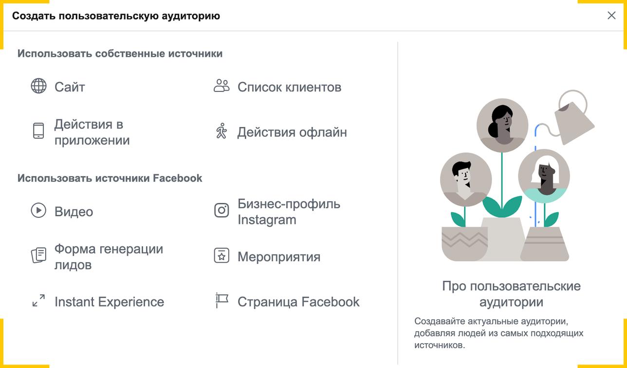 Ретаргетинг в Фейсбук возможен по двум десяткам параметров