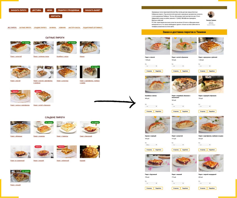 Основное правило разработки сайта с доставкой еды - возможность посмотреть состав блюда