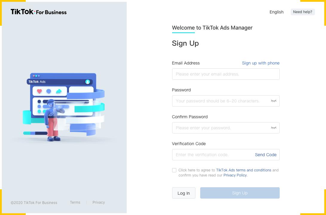Чтобы создать аккаунт в TikTok Ads, заполните контактные данные и придумайте пароль