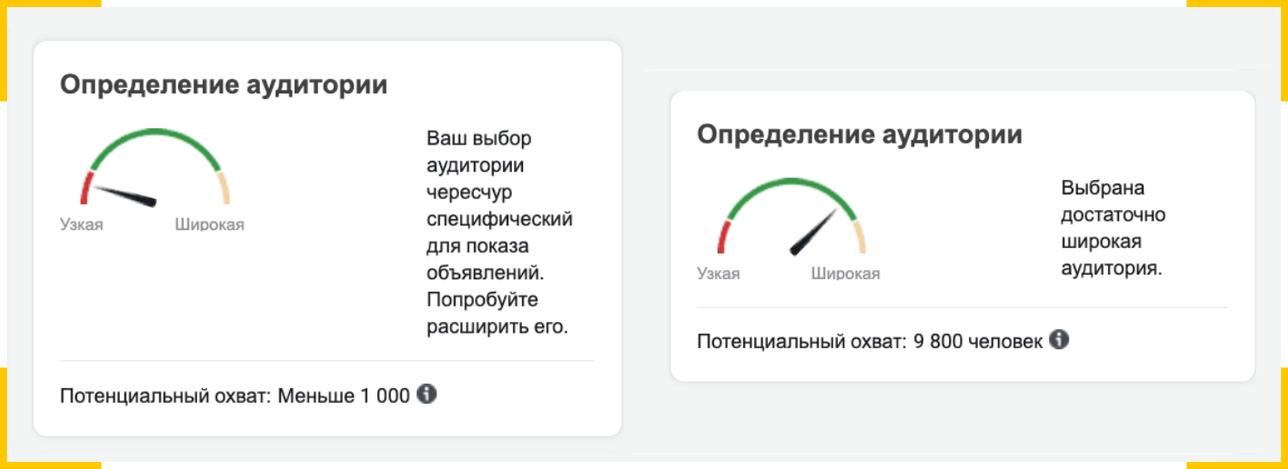 В рекламном кабинете фейсбук есть шкала, которая показывает, подходит ли настроенная аудитория для оптимизации
