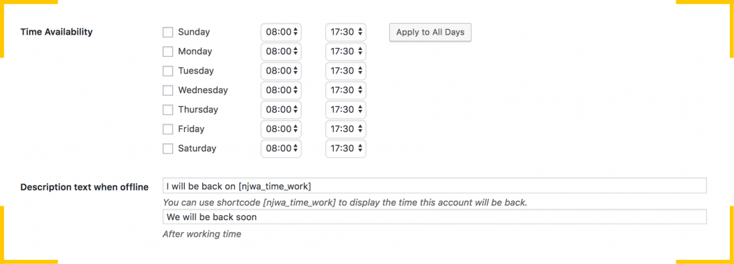 В настройках плагина  NinjaTeam WhatsApp Chat для WordPress можно задать время работы кнопки WhatsApp на сайте