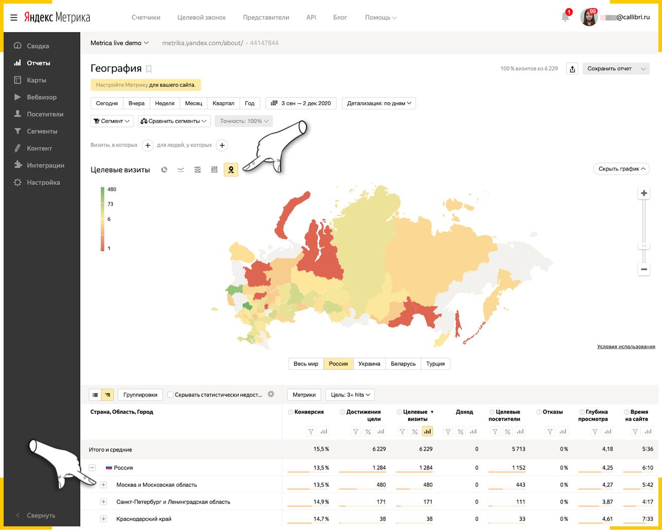 """Отчет """"География"""" покажет, в каких регионах есть ваша целевая аудитория"""