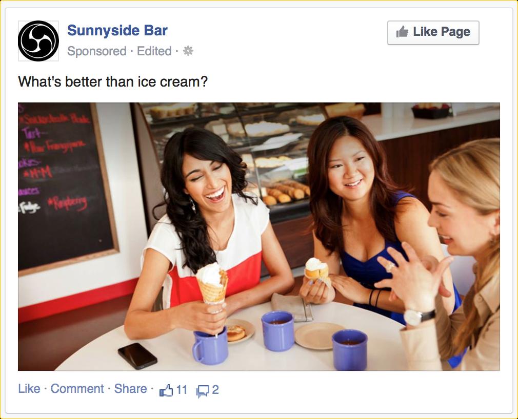 пример рекламы в Facebook