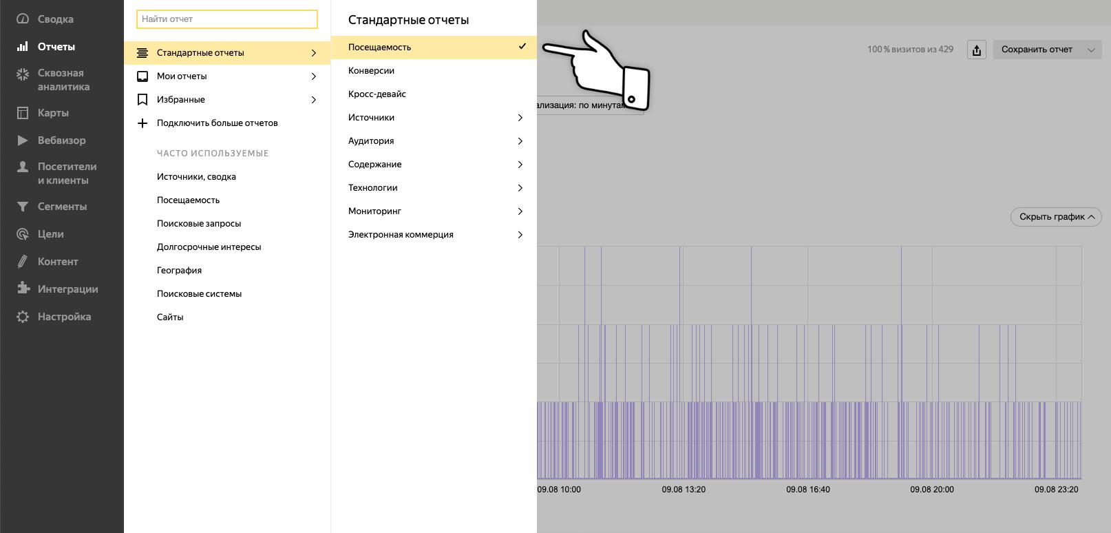 Найти и выбрать отчет «Трафик по минутам» в Яндекс.Метрике